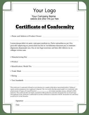 Letter Of Conformance Template by Certificate Of Conformity Templates Pageprodigy Print