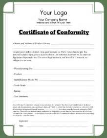 Letter Of Conformity Template by Certificate Of Conformity Templates Pageprodigy Print