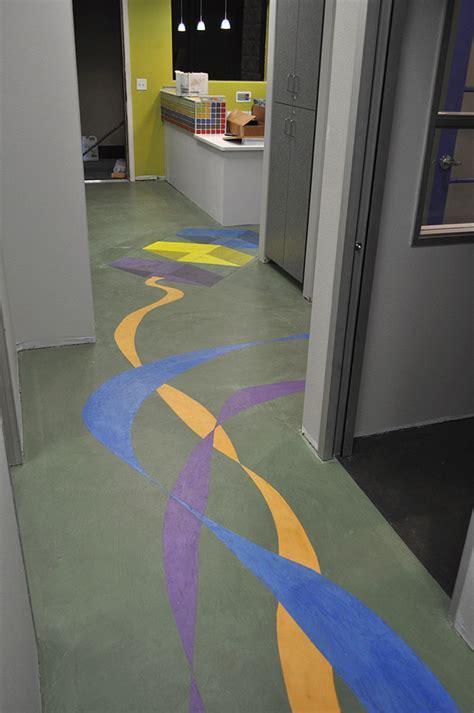 Wayfinding Colors on a Dentist's Concrete Floor   Concrete