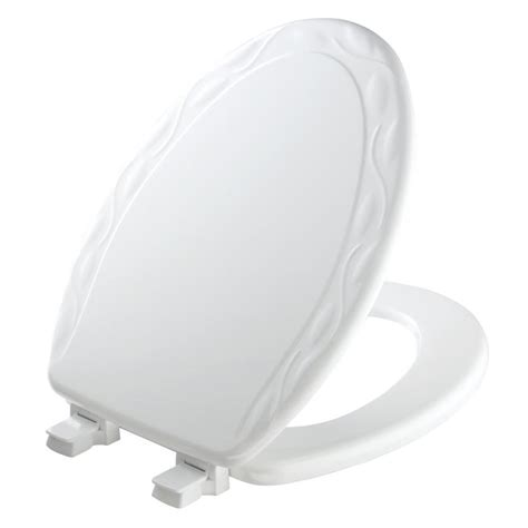 oblong toilet seat lowes shop church white wood elongated toilet seat at lowes