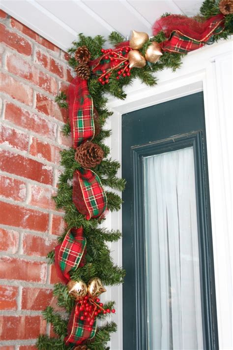 My Version Of The Deco Mesh Garland Lighted Garland With Garland Around Front Door