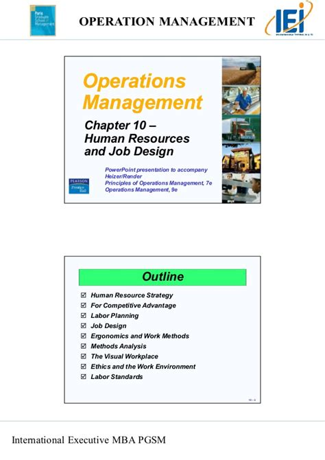 Mba Operations Internship by Chapter 10 Human Resources And Job Design