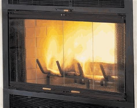 Glass Burning Fireplace by Monessen Pewter Bi Fold Glass Fireplace Doors With Black