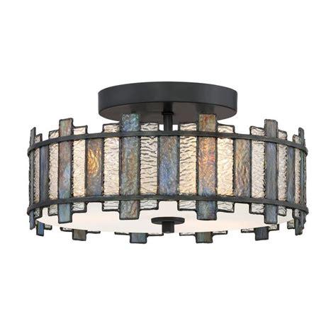 tiffany style flush mount ceiling light shop quoizel sentry 14 in w black tiffany style flush