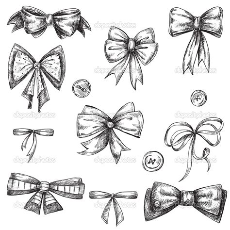 drawn ribbon ribbon bow pencil and in color drawn ribbon