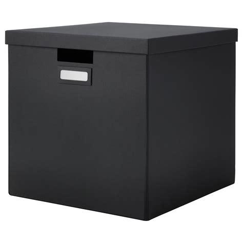 ikea filing storage boxes tjena box with lid black 32x35x32 cm ikea