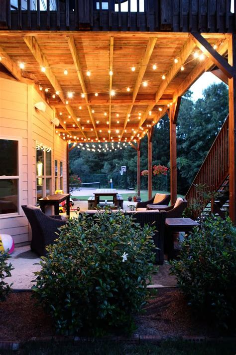 Outdoor Patio Hanging String Lights Great Idea For Lighting The Deck Dwell Pinterest Patio Decks And Inspiration