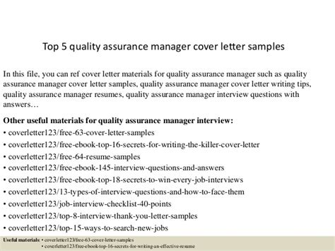 Assistant Quality Manager Cover Letter Top 5 Quality Assurance Manager Cover Letter Sles