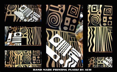 Handmade Prints - 2012 studio play handmade printing plates mixed media by