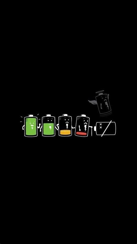 The Battery Life. Funny cartoon art iPhone wallpapers. Tap