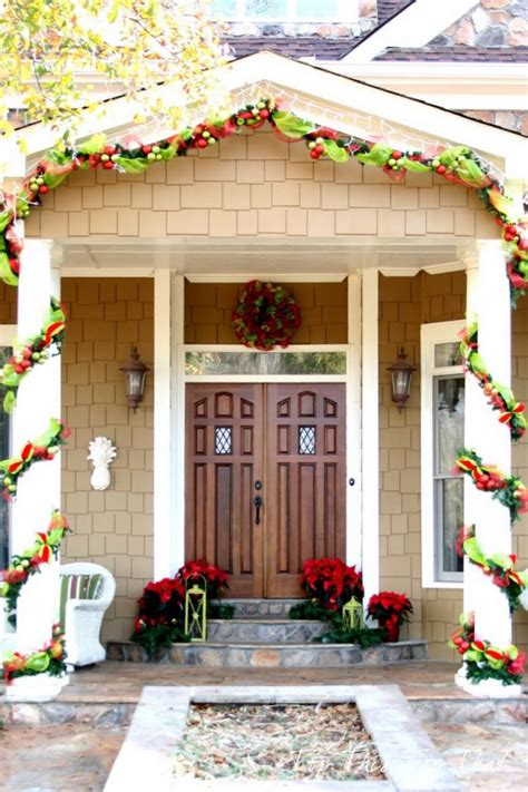 decorating porch column for xmas 15 sensational front door decor with lovely poinsettias