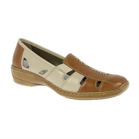 rieker womens fano beige two tone casual slip on shoe