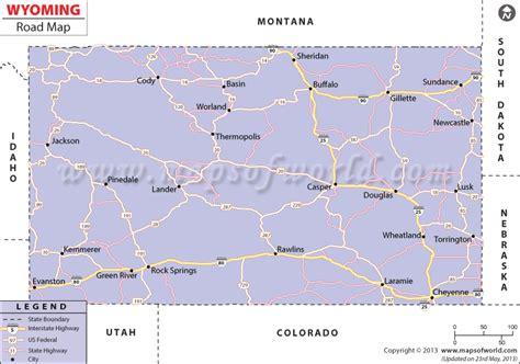 map of wyoming usa wyoming road map