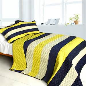Blue And Yellow Bedding Sets Navy Blue Yellow Striped Boy Bedding Quilt Set Bedspread
