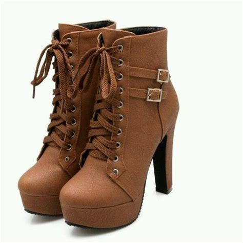 Highheels Semi Boots shoes heels booties ankle boots lace up brown black