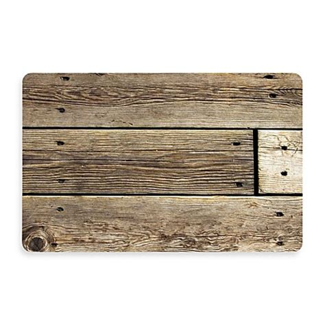 Rustic Kitchen Rugs Buy Bungalow Flooring New Wave 18 Inch X 27 Inch Rustic Wood Photo Kitchen Rug From Bed Bath