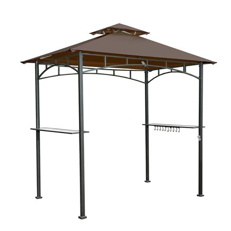 sunjoy gazebo shop sunjoy brown steel rectangle grill gazebo exterior