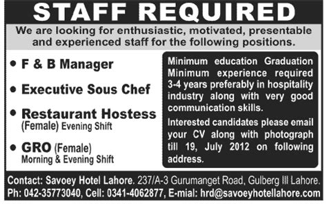 What Is The Minimum Experience Required For Executive Mba hotel management staff required in lahore jang on 15 jul