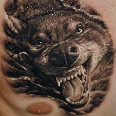 3d wolf tattoo 3d angry wolf on chest