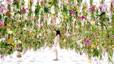 Flower Garden Japan A Suspended Flower Garden That Lifts Out Of The Way When A Person Walks Through It