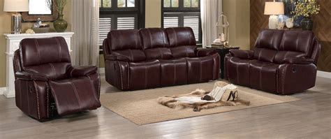 homelegance haughton reclining sofa set brown top grain