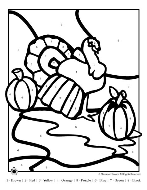 printable turkey color by number coloring pages color by numbers animal coloring pages for