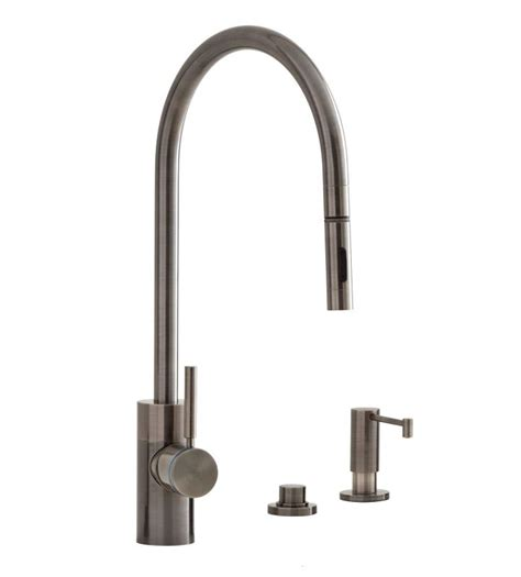 pewter kitchen faucets faucet 5300 3 ap in antique pewter by waterstone
