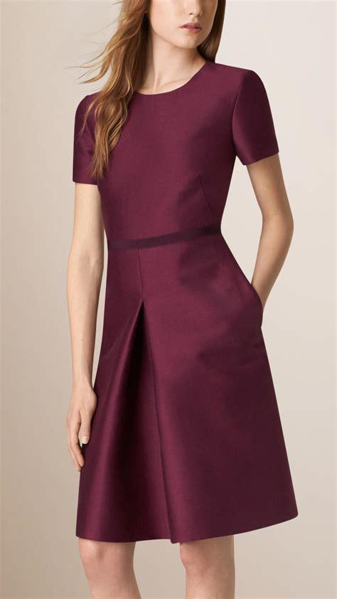 Dress Silk burberry sculptural cotton silk dress in purple lyst