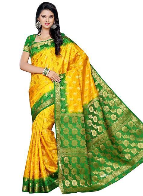 Buy Golden Yellow N Green Raw Silk Saree, Zari, sari
