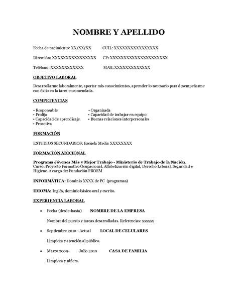 Plantillas De Curriculum Vitae Sencillo Gratis modelo cv sencillo operador de pc