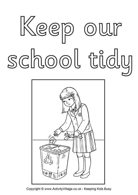 coloring pages school rules keep our school tidy colouring poster