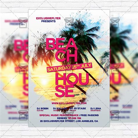 Beach House Party Premium Flyer Template Instagram Size Flyer Exclsiveflyer Free And Instagram Flyer Template
