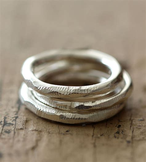 recycled sterling silver stacking rings set of 3