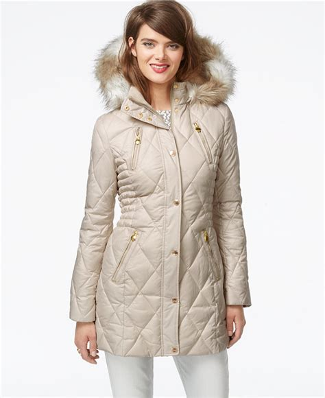 laundry design coat laundry by design faux fur trim quilted puffer coat