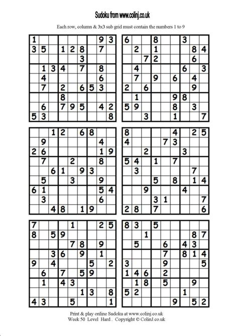 printable sudoku hard 4 per page 5 best images of printable sudoku hard level print hard