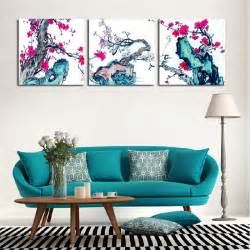 Plum Home Decor by Unframed 3 Pieces Plum Blossom Flowers Modern Home Wall