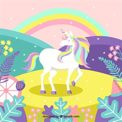 colorful magic colorful magic world background with unicorn vector free