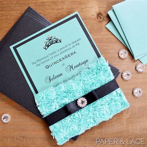 design a quinceanera invitation rosette quince invitation turquoise lace pocket invitation