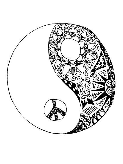 trippy yin yang coloring pages ying yang complex coloring pages hippie yin drawing