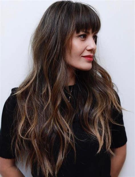 bangs long eyebrow skimming bangs hairboutique 50 cute long layered haircuts with bangs 2018