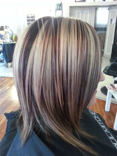 ideas for low lights in gray hair dark hair with red low lights and blonde high lights