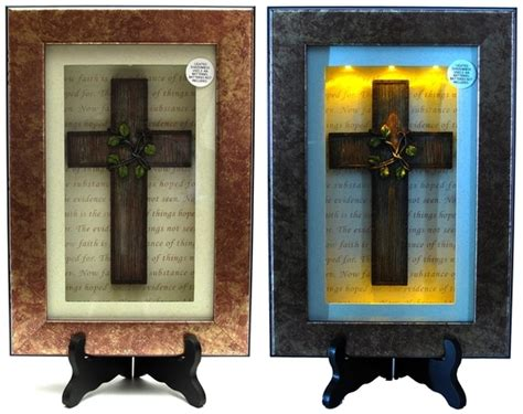 spiritual harvest vine cross lighted shadow box
