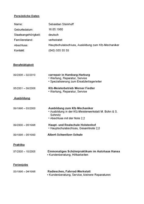 Lebenslauf Vorlage Techniker Berufserfahrung Beispiele F 252 R Lebenslauf