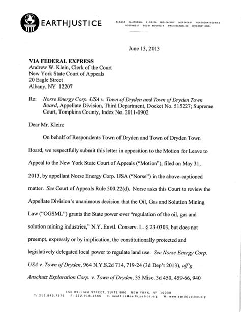 Nyc Finance Letter Ruling Dryden Ny Letter To Ny Court Of Appeals On Town Ban