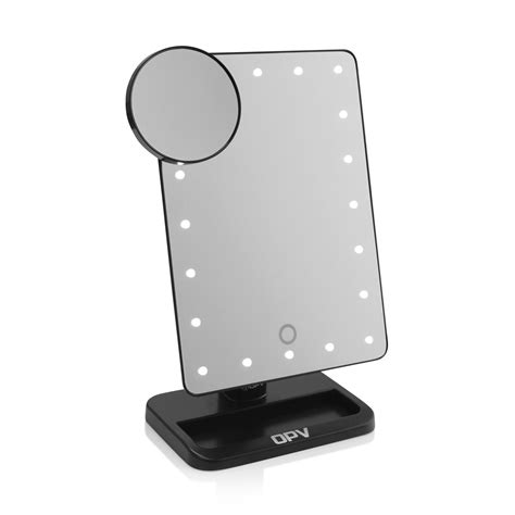 black lighted makeup mirror black opv touch xl dimmable led makeup mirror with