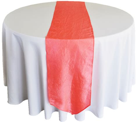 coral table runner coral crushed crinkle taffeta table runners