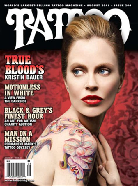 tattoo online magazine kristin bauer s body art graces tattoo magazine cover