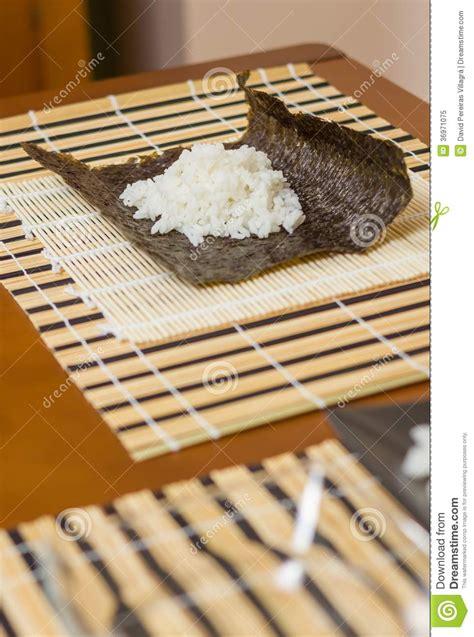 Nori Seaweed Sushi Roll Maker nori seaweed sheet with rice above to make sushi royalty free stock photo image 36971075