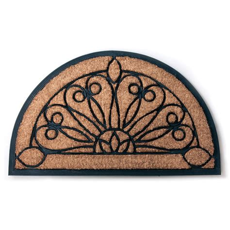 Half Moon Doormat tulips half moon recycled rubber coir doormat doormats at hayneedle