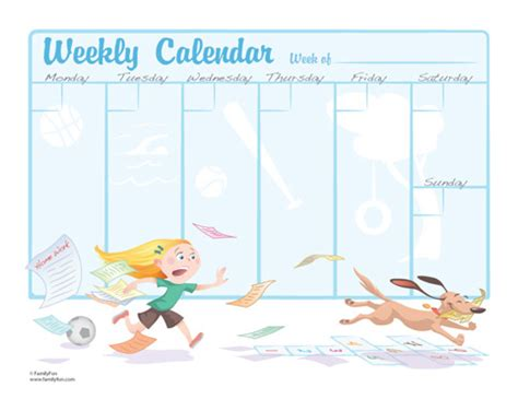 printable children s weekly calendar cards for kids weekly calendar for school children